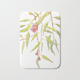 Flowering eucalyptus tree branch Bath Mat