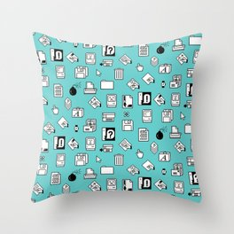 Vintage Iconography in. Blue Throw Pillow