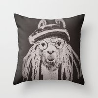 funky Throw Pillows featuring Funky Llama by Paula Belle Flores