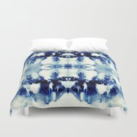 tie dye Duvet Covers featuring Tie Dye Blues by Nina May Designs