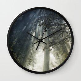 Smoke and Sun Filtered Through a Fir Tree Wall Clock