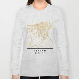 TEHRAN IRAN CITY STREET MAP ART Long Sleeve T-shirt