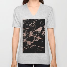 Black Marble Rose Gold Glam #1 #decor #art #society6 Unisex V-Neck