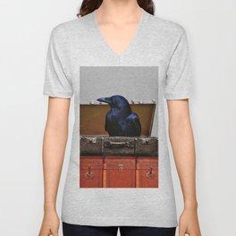 Raven in suitcase Collage #society6 Unisex V-Neck
