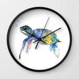 Sea Turtle, children artwork Illustration Wall Clock