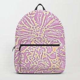 Marigold Lino Cut, Batik Pastel Pink And Orange Backpack
