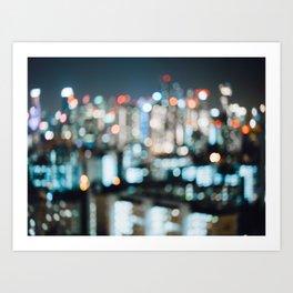 Blurry City Lights Art Print
