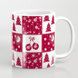 Bright red and white Christmas background Coffee Mug