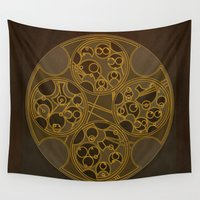 "poem Wall Tapestries featuring Tick-Tock Poem in Circular Gallifreyan by Barbora ""Mad Alice"" Urbankova"