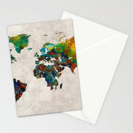 World Map 61 Stationery Cards