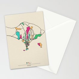 Colorful City Maps: Bali, Indonesia Stationery Cards