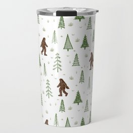trees + yeti pattern in color Travel Mug