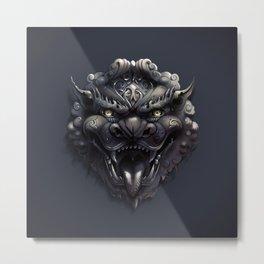 Foo Lion Dog Mask Metal Print