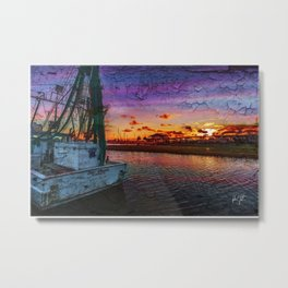 Beaufort North Carolina Grunge Sunset Metal Print