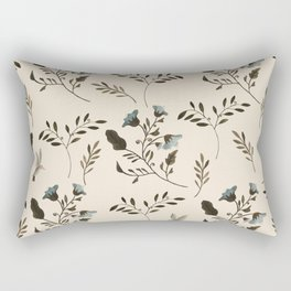 Ivory Cream and Bluebells and Bluebirds Floral Pattern Flowers in Blue and Bark Brown Rectangular Pillow