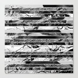 Black And White Layered Collage - Textured, mixed media Canvas Print
