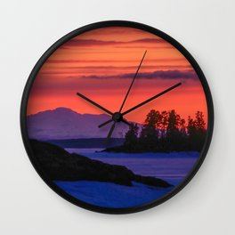 Sunset in winter with red sky Wall Clock