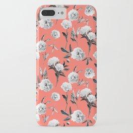 Peonies Mono Coral iPhone Case
