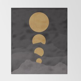 Rise of the golden moon Throw Blanket