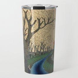 Spring Cherry Trees Blossoms Ukiyo-e Japanese Art Travel Mug