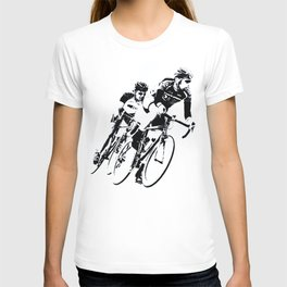 Bicycle racers into the curve... T-shirt