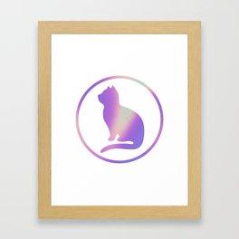 Holographic cat silhouette Framed Art Print