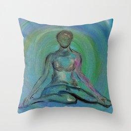 Contentment through Yoga Throw Pillow