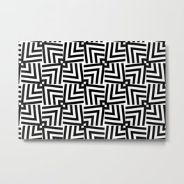 Black And White Op-Art Triangle Pattern Metal Print