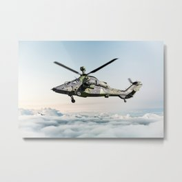 Military armed attack helicopter in flight Metal Print