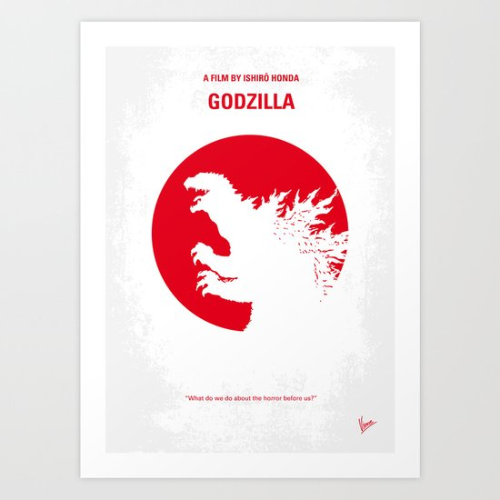 No029-2 My Godzilla 1954 minimal movie poster Art Print