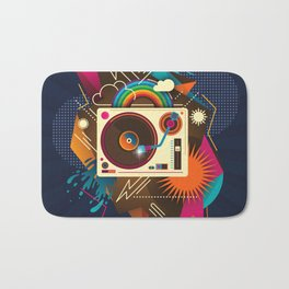 Goodtime Party Music Retro Rainbow Turntable Graphic Bath Mat