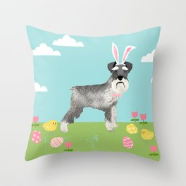 Schnauzer easter dog breed pet pattern rescue dog schnauzers lovers spring easter eggs Throw Pillow