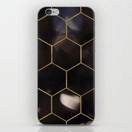 Dark bokeh gold hexagons iPhone Skin