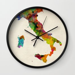 Italy Watercolor Map, Italia Wall Clock