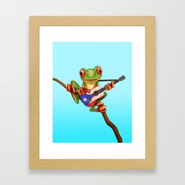 Tree Frog Playing Acoustic Guitar with Flag of Puerto Rico Framed Art Print