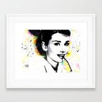 audrey hepburn Framed Art Prints featuring AUDREY HEPBURN by Vertigo