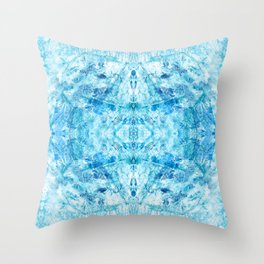 Crystal Stone - In Teal Aqua & Blue Throw Pillow