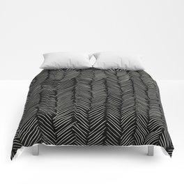 Herringbone Cream on Black Comforters