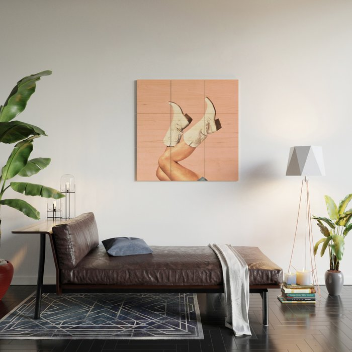 These Boots - Pink Wood Wall Art