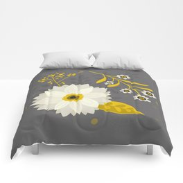Cream and Grey Floral Collage Comforters