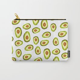 Modern hand painted avocado green brown watercolor pattern Carry-All Pouch