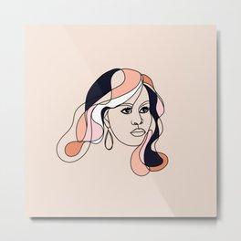 Line-art portrait - Female Icon, Michelle Metal Print