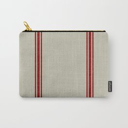Red Stripes on Linen color background French Grainsack Distressed Country Farmhouse Carry-All Pouch