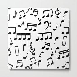 Dancing Black Music Notes on White Background Metal Print