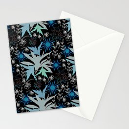 Boho style leaves sunny day neon colors on black Stationery Cards