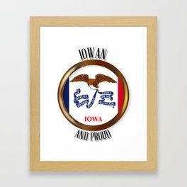 Iowa Proud Flag Button Framed Art Print