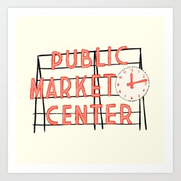 Pike Place Market Sign Art Print