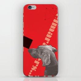 Constructivist Weimaraner Balancing Black Cube iPhone Skin