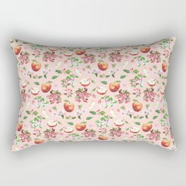 Pattern - watercolor apple and flowers Rectangular Pillow