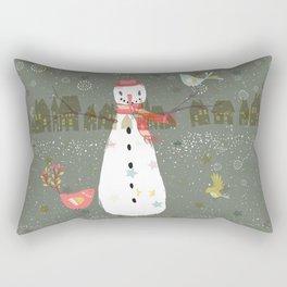 Cute Christmas Snowman & Birds Winter Scene Rectangular Pillow